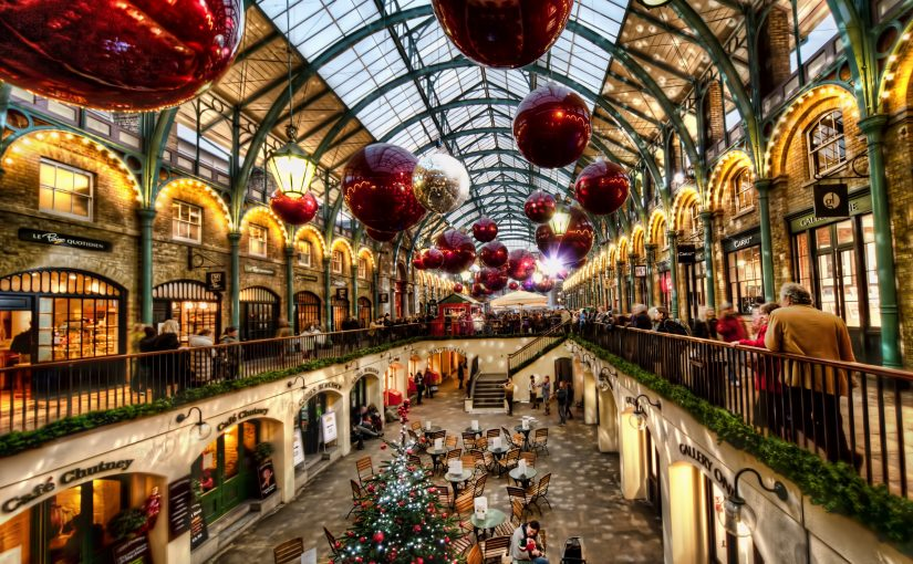 Christmas decorations hanging in Covent Garden Market